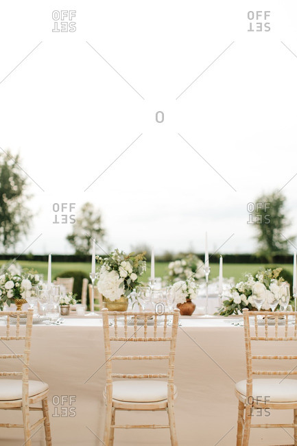 A wedding tables in country setting