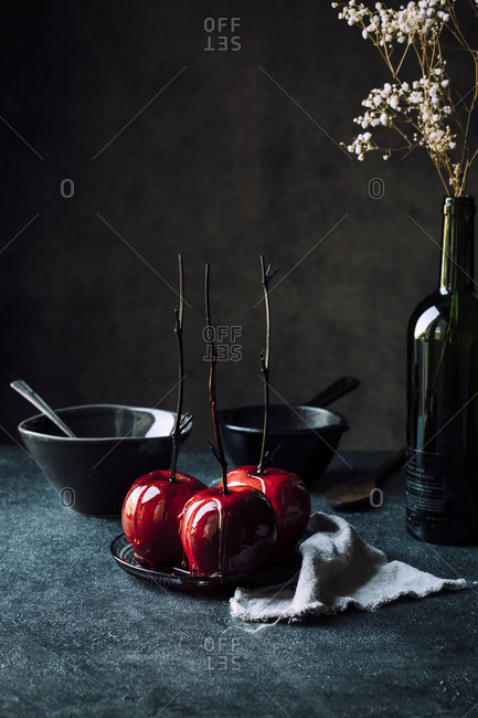 Candied apples in studio shot