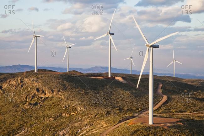 Wind turbines on hilltop