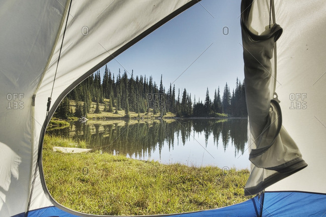 View of tranquil lake from tent