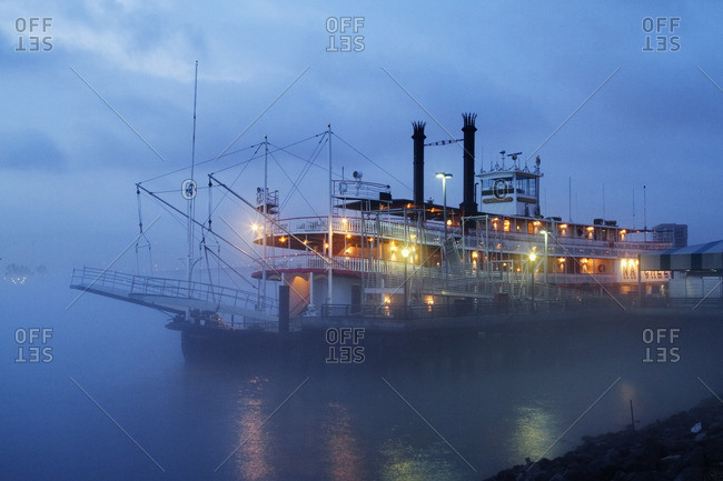New Orleans, Louisiana, USA - April 6, 2011: Riverboat at night