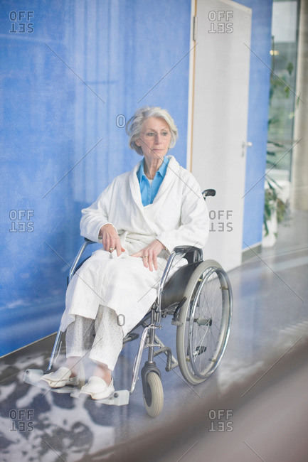 Old woman in a wheel chair