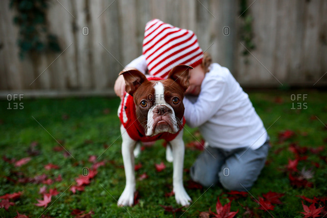Boy embracing his dog in a Christmas sweater