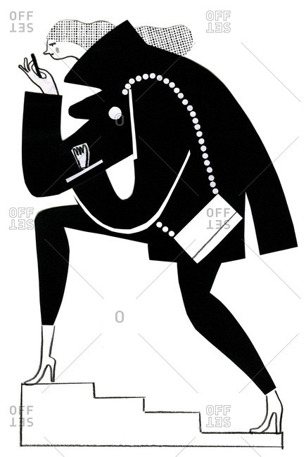 Illustration of a woman texting on a Smartphone