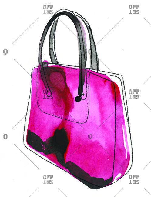 Pink handbag with black handles