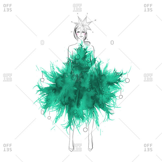 Woman wearing a garment that looks like a Christmas tree