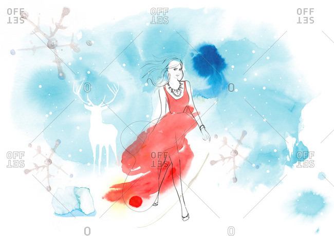 Woman in red evening gown on wintery background with deer