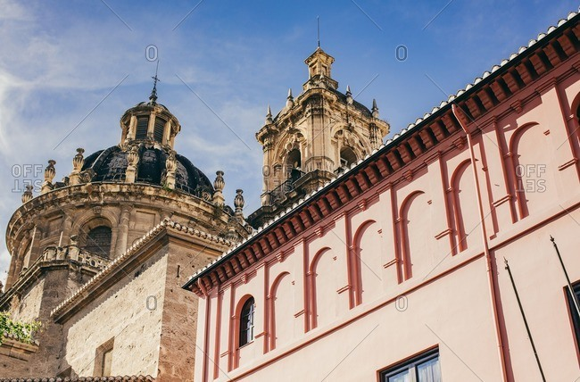 Dome and spires of a cathedral in Granada, Spain