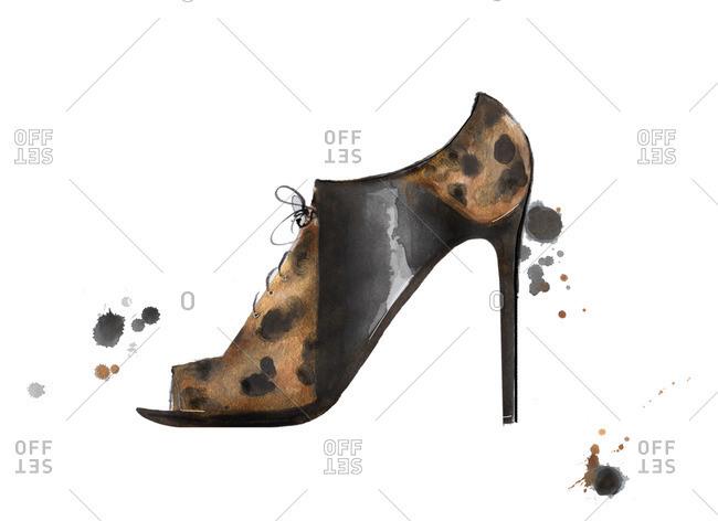 Fashion illustration of leopard, animal print heel booties