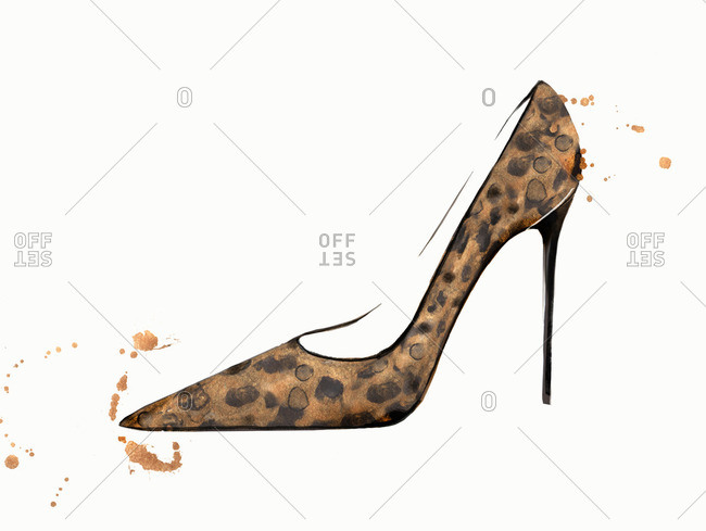 Fashion illustration of leopard print high heel