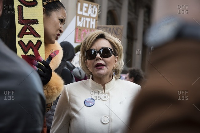 New York City, New York - November 12, 2016: Hillary Clinton impersonator at an anti-Trump rally in New York City