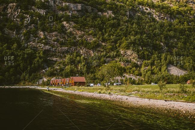 Norway - July 16, 2014: Cabins in Norwegian fjords