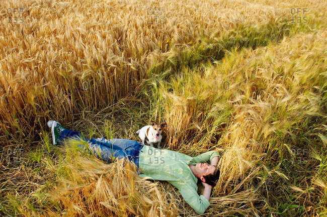 Man With Dog Laying Down In Wheat Field