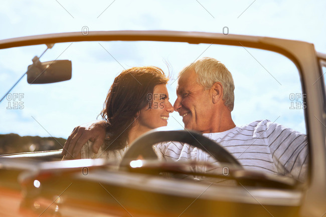 Couple In Car, About To Kiss