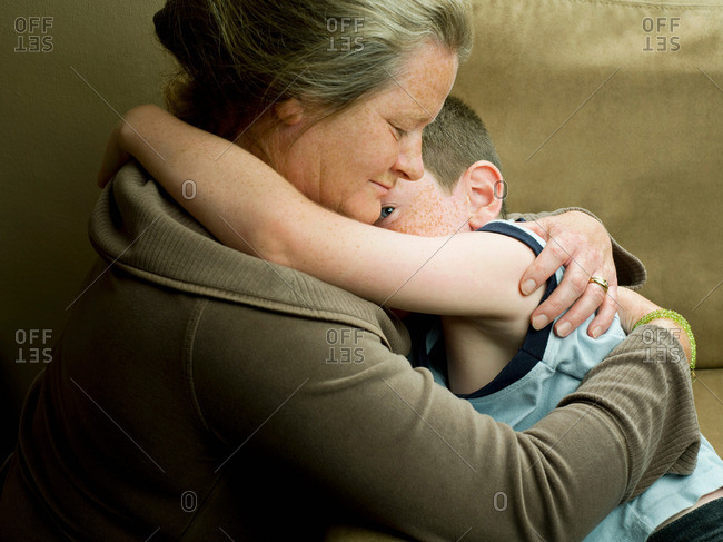 A Mum Hugging Her Son