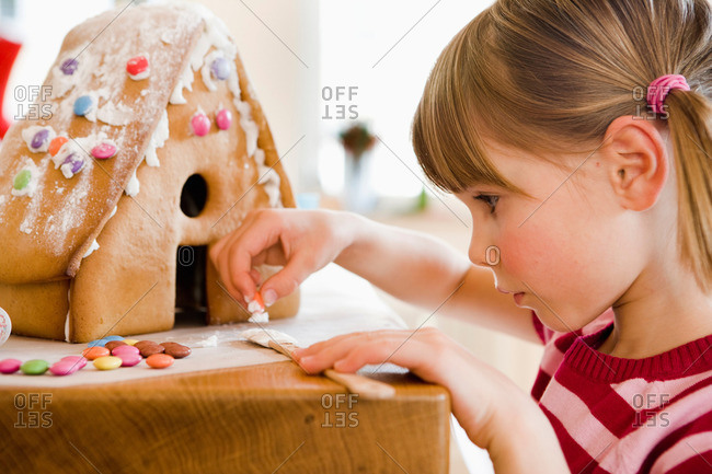 Young Girl Preparing Cake House