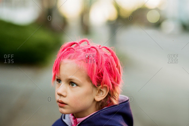 A girl with dyed pink hair