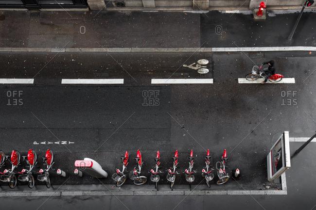 Person riding in bike lane