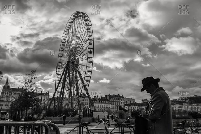 Lyon, France - November 26, 2015: Ferris wheel in Place Bellecour