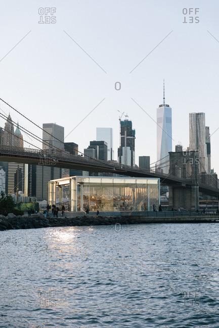 New York City - October 14, 2016: Brooklyn Bridge and Manhattan view