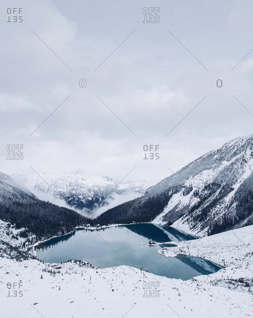 A lake in snowy mountains