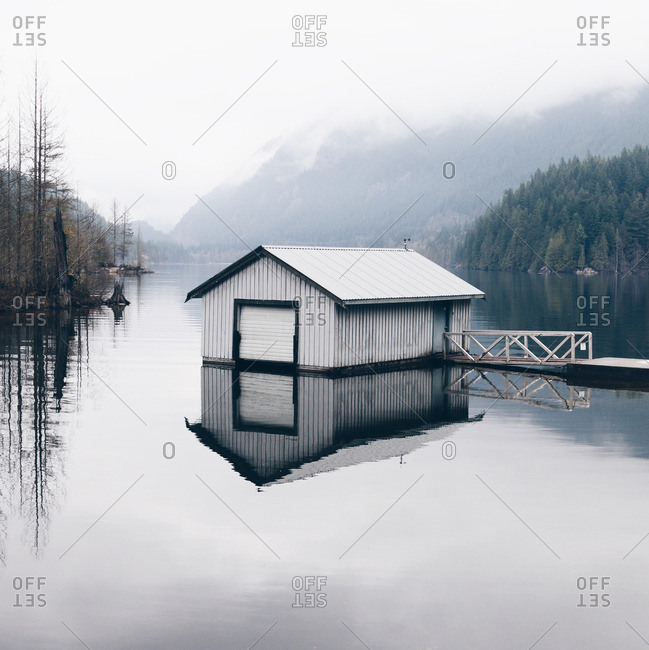 A boathouse in mountain setting