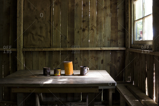Interior of an old cabin of an early settler in the Blue Mountains, a national park near Sydney, Australia