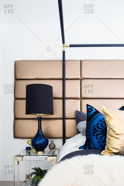 Modern four poster bed in bedroom