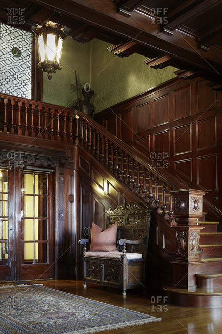 Los Angeles, California - January 18, 2008: Stairway in Craftsman style mansion