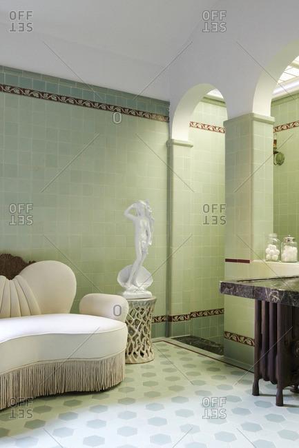 Los Angeles, California - January 31, 2008: Roman style bath area in mansion