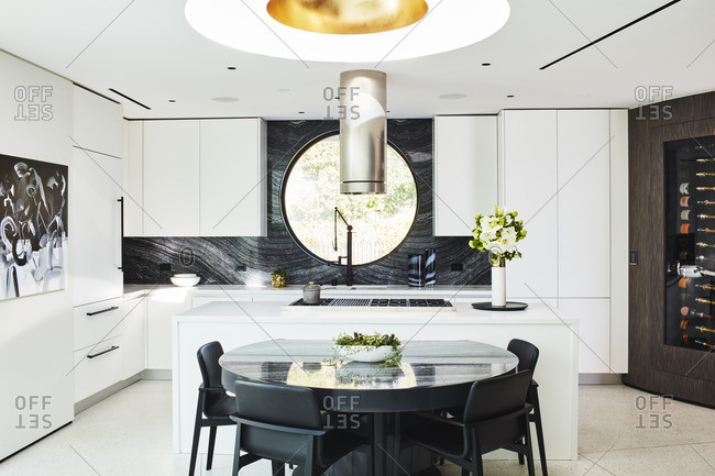 Beverly Hills, California - November 4, 2016: Modern kitchen area and seating