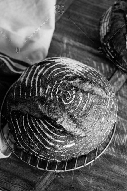 Fresh baked loaf of bread with a spiral swirl