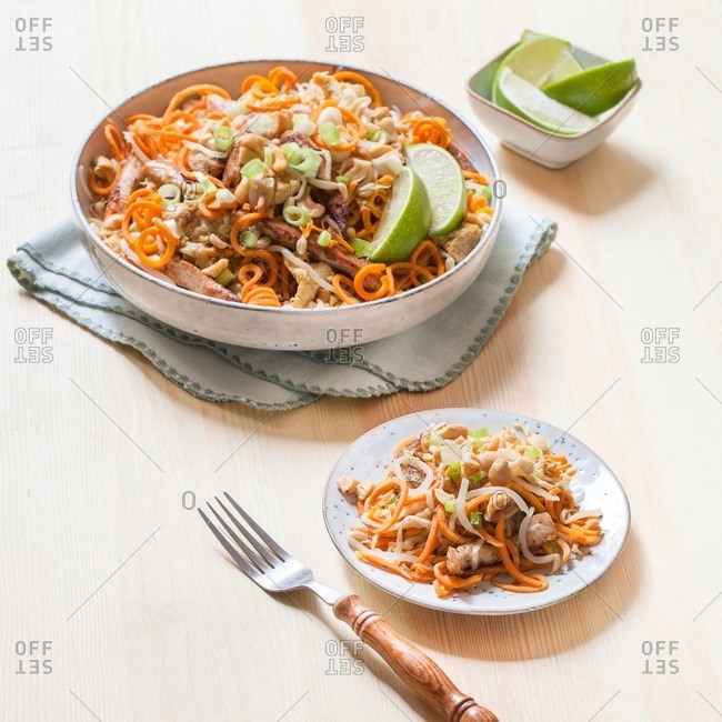 Spiralized noodle dish prepared and served on a plate