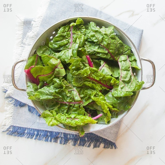 Swiss chard in a strainer