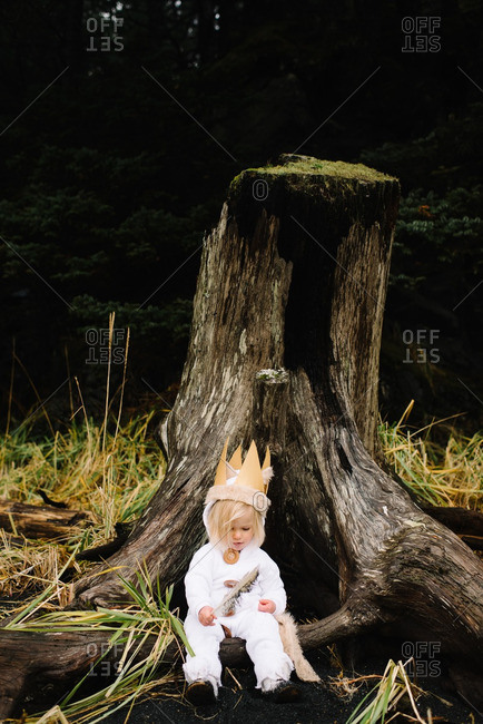 Toddler girl wearing costume sitting by a tree stump