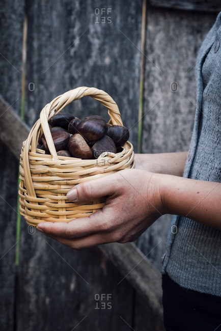 Hands holding a basket of chestnuts in front of a wooden door