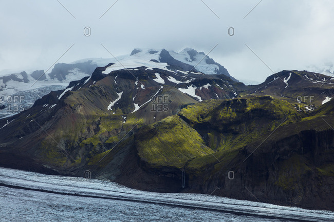 Landscape with snowy mountains in Skaftafell, Iceland