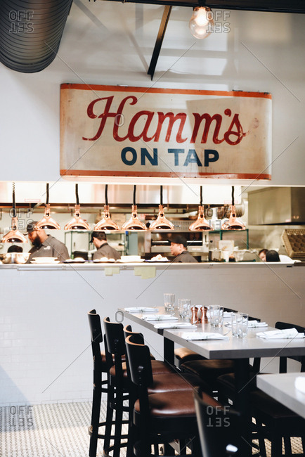 Restaurant interior with Hamm's on tap sign