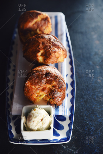 Cheddar bacon popovers with smoked bacon butter