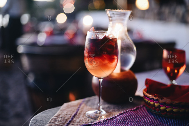 Close up of a cocktail in a wine glass