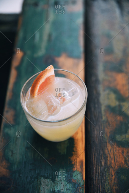 Cocktail with grapefruit garnish