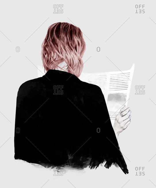 Girl with pink hair and black jacket reading a newspaper