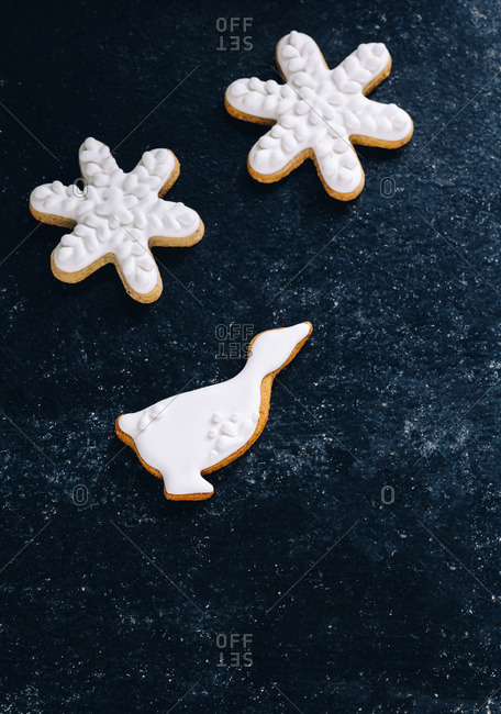 Snowflake and goose frosted cookies