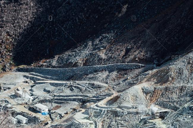 Scenic view of the Owakudani volcanic activity area