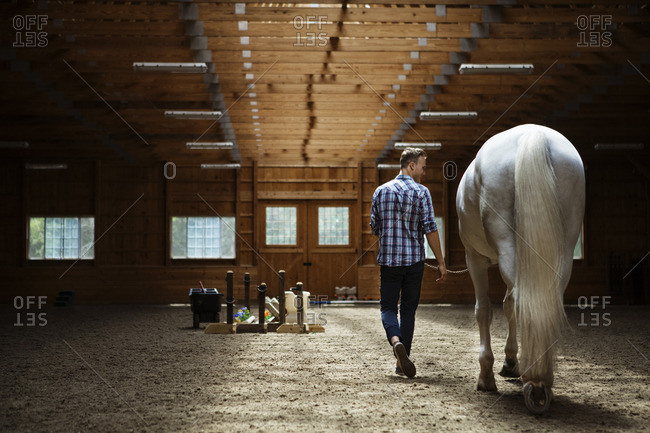 Rear view of rancher walking with horse in stable