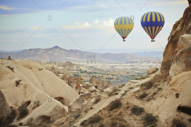 Hot air balloons flying over Cappadocia