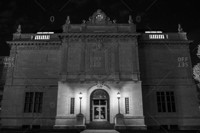 Hartford, Connecticut - November 11, 2016: Exterior of stone building at night