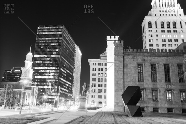 Hartford, Connecticut - November 11, 2016: Buildings in downtown at night