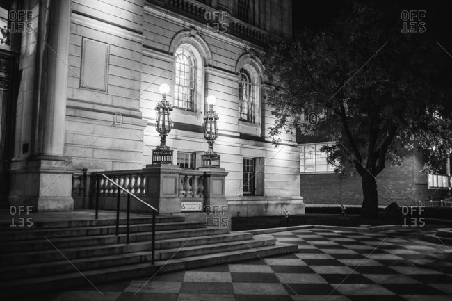 Hartford, Connecticut - November 11, 2016: Illuminated front of old building
