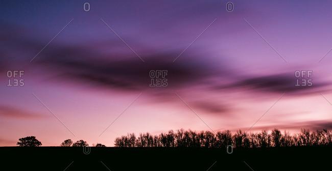 Rural sunset in long exposure